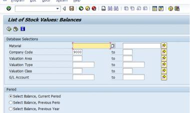 SAP T-code MB5L - Closing Inventory Report in value & quantity terms