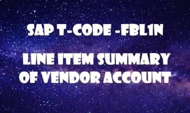 SAP T-code FBL1N-  Line item summary of Vendor Account